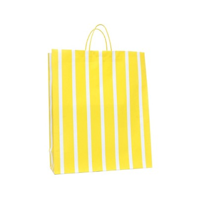 Extra Large Striped Gift Bag White/Yellow - Spritz™