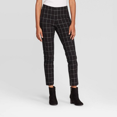 Women's Plaid High-Rise Skinny Ankle Pants - A New Day™ Black/White 4
