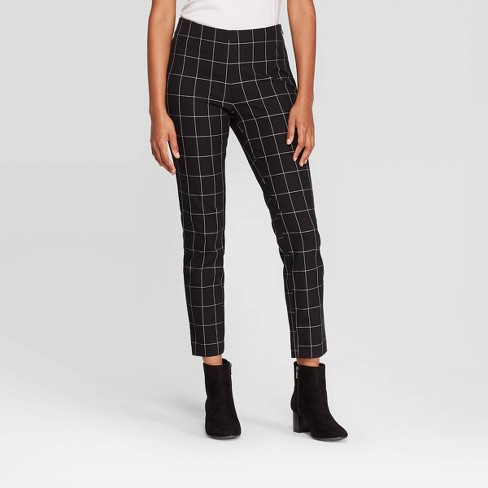 Women's Plaid High-Rise Skinny Ankle Pants - A New Day™ Black/White - image 1 of 3