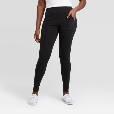 Women's Ribbed High-Waist Leggings with Pockets - A New Day™ Black