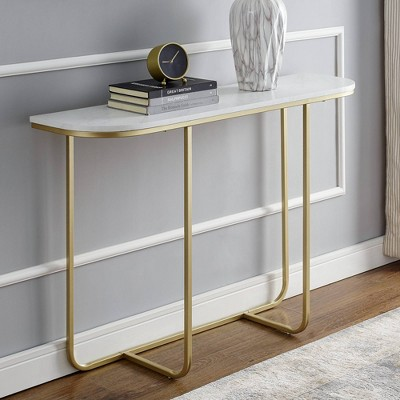 Modern Glam Curved Entryway Table With Faux Marble And Metal - Saracina Home : Target
