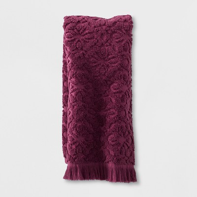 Soft Jacquard Accent Hand Towel Maroon - Opalhouse™