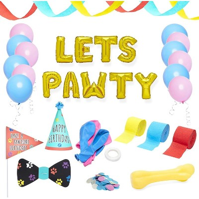 Blue Panda 25-Piece Lets Pawty Dog Puppy Birthday Party Decorations Supplies - Streamer, Balloon, Bow Tie, Hat
