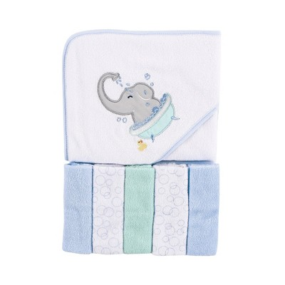 Luvable Friends Baby Boy Hooded Towel with Five Washcloths, Elephant Bath, One Size