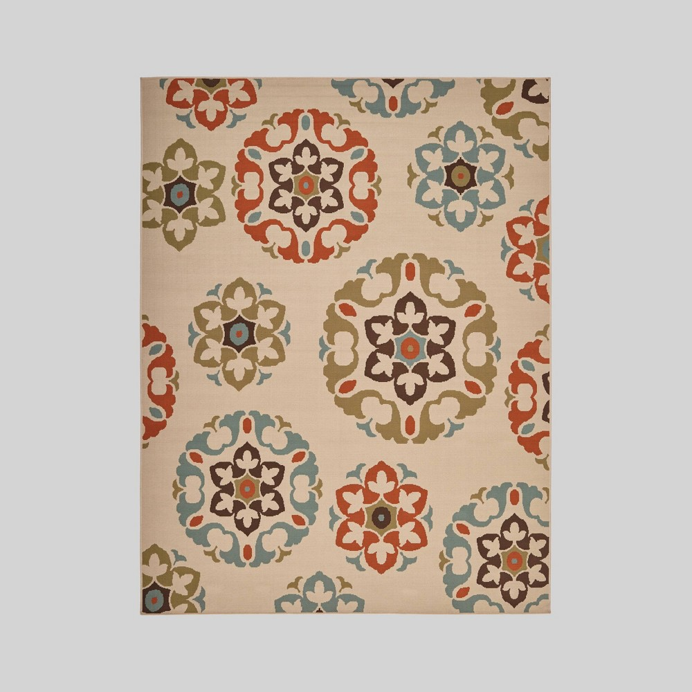 7'10 x 10' Shiloh Medallion Outdoor Rug Ivory - Christopher Knight Home, White