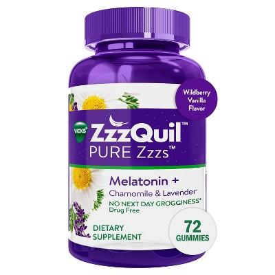 ZzzQuil Vicks Pure Zzzs Melatonin Dietary Supplement Gummy - Wildberry Vanilla Flavor - 72ct