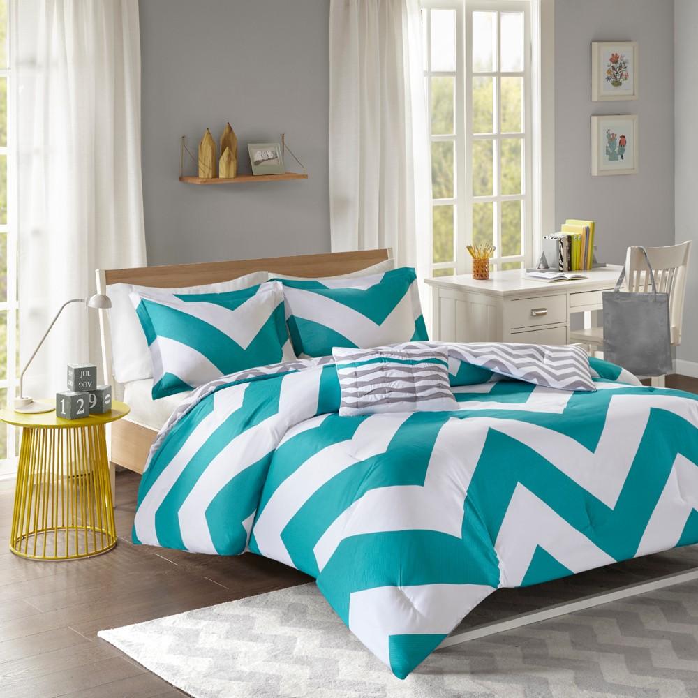 3pc Twin Twin Extra Long Leo Comforter Set Blue White
