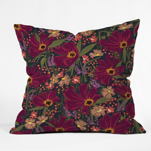 Maroon Floral Throw Pillow - Deny Designs - image 1 of 1