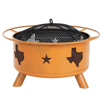 """30"""" Wood Burning Fire Pit with Cover  - Orange - Nuu Garden"""