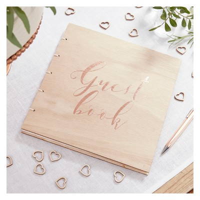 Ginger Ray Rose Gold Wooden Guest Book Beautiful Botanics