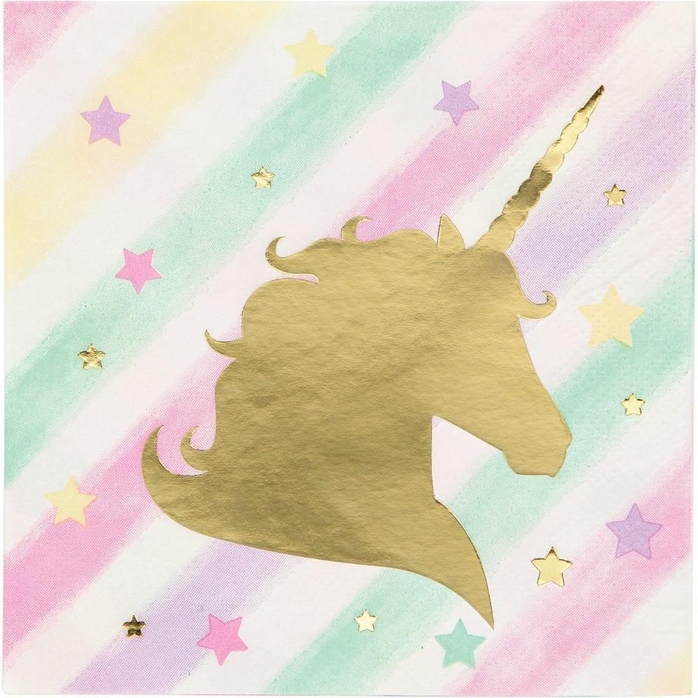 Image of 16ct Unicorn Sparkle Print Beverage Napkin