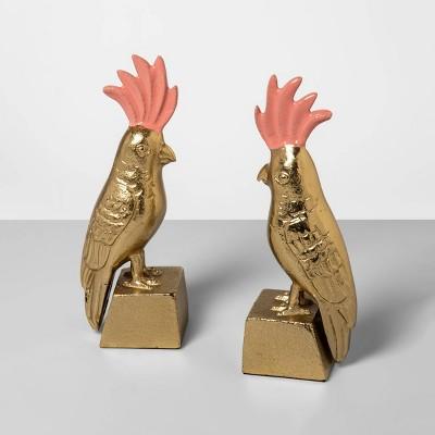 8.2  x 6  2pc Brass Bird Bookend Set Gold - Opalhouse™