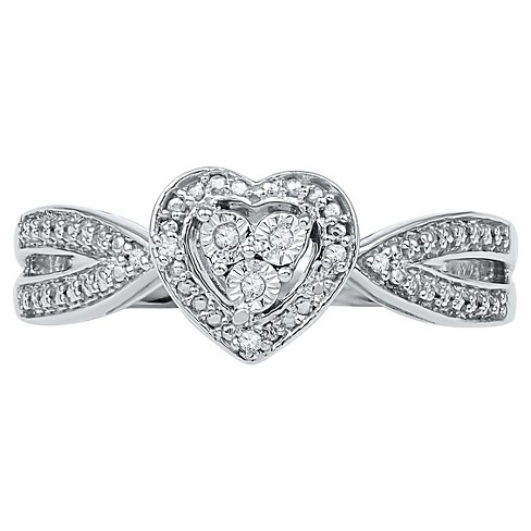 Women s Diamond Accent Prong Miracle Set Heart Ring In Sterling Silver  (IJ-I2-I3)   Target 0c3d679bd3