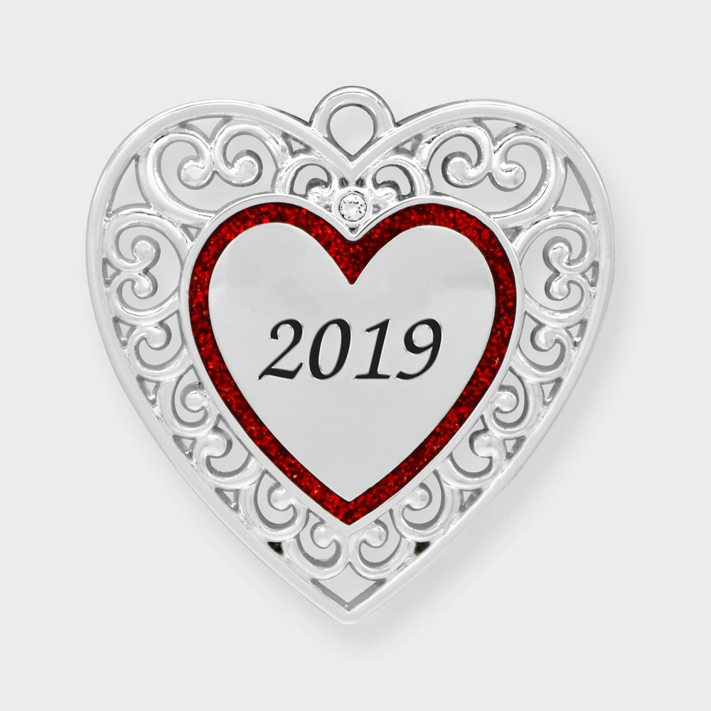 Image of Crystals from Swarovski - Harvey Lewis - 2019 Mini Heart Christmas Ornament, Red Silver