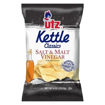 Utz Salt & Malt Vinegar Kettle Classics Potato Chips - 8oz