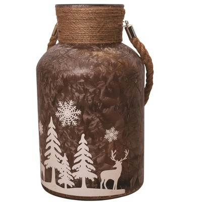 """Northlight 12"""" Iced Winter Scene Christmas Pillar Candle Holder Lantern with Handle - Brown"""