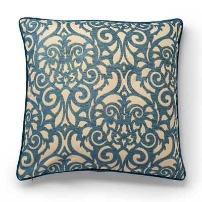 """22""""x22"""" Rouleau Jacquard Decorative Throw Pillow Blue - SureFit"""