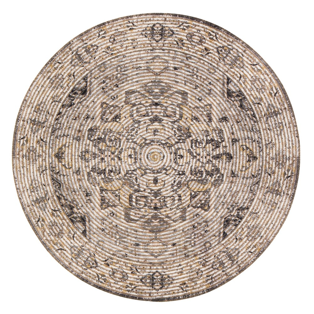 Image of 4' Braided Medallion Round Accent Rug Brown- Anji Mountain, Brown