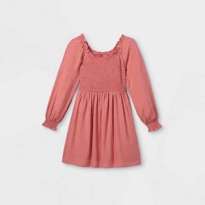 Girls' Square Neck Long Sleeve Smocked Dress - art class™