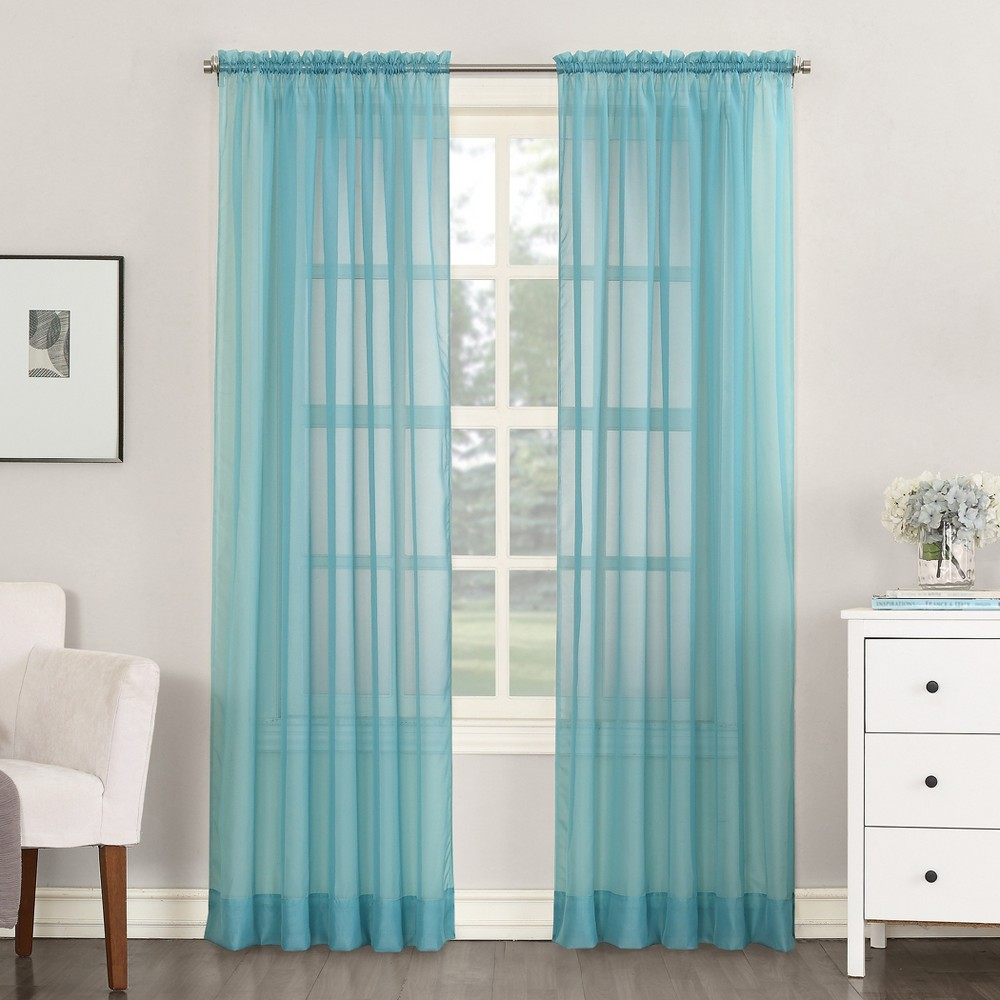 Emily Sheer Voile Rod Pocket Curtain Panel Aegean 59