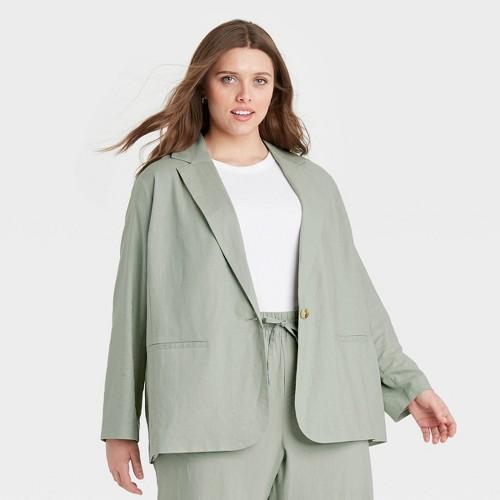Women S Plus Size Blazer A New Day Green 1X