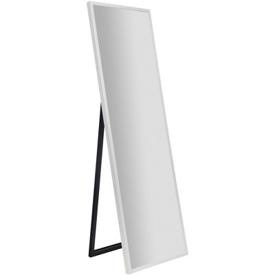 "16""x57"" Framed Floor Free Standing Mirror with Easel White - Gallery Solutions"