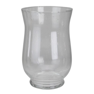 """Northlight 10"""" Clear Contemporary Seeded Glass Hurricane Vase"""