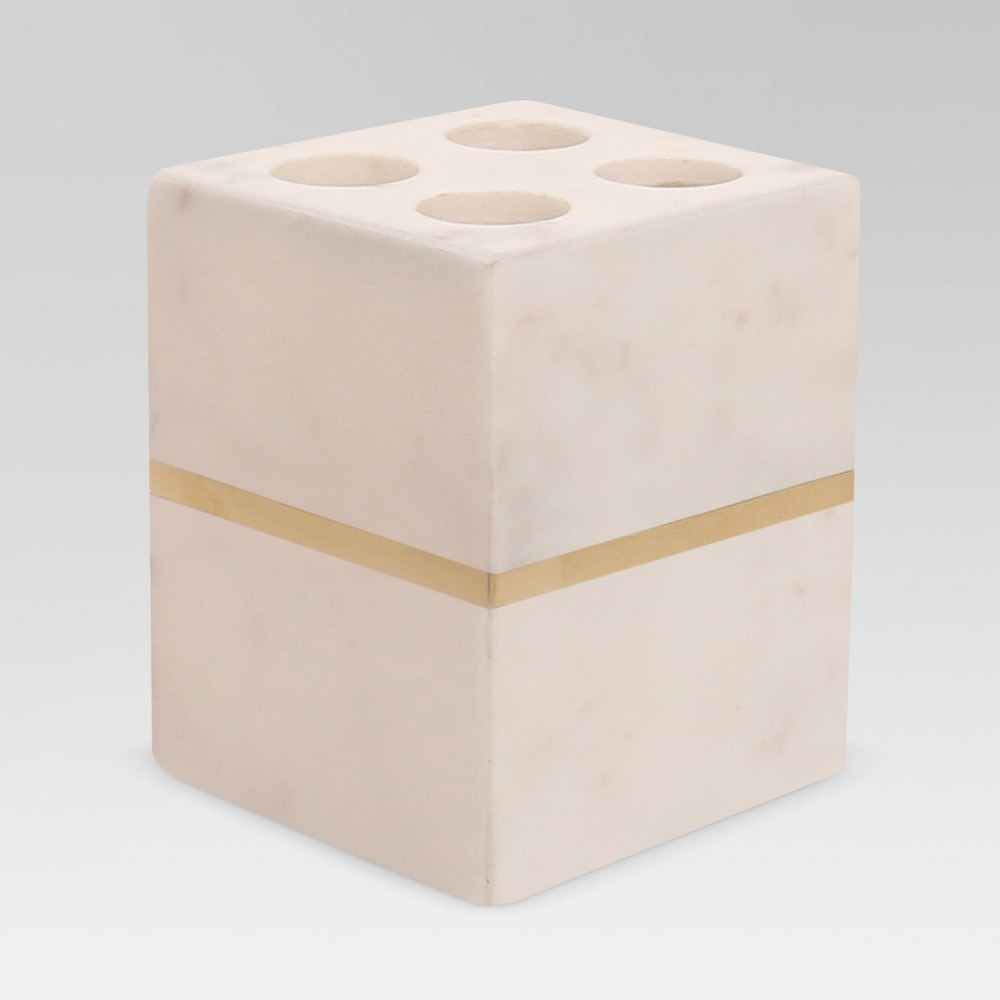 Image of Marble Toothbrush Holder White/Gold - Project 62
