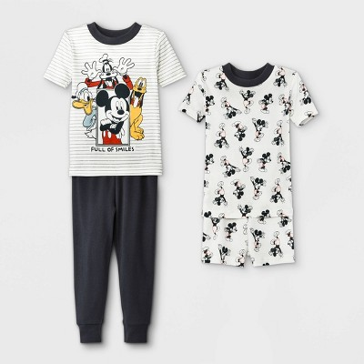 Toddler Boys' 4pc Mickey Mouse & Friends Snug Fit Pajama Set - White