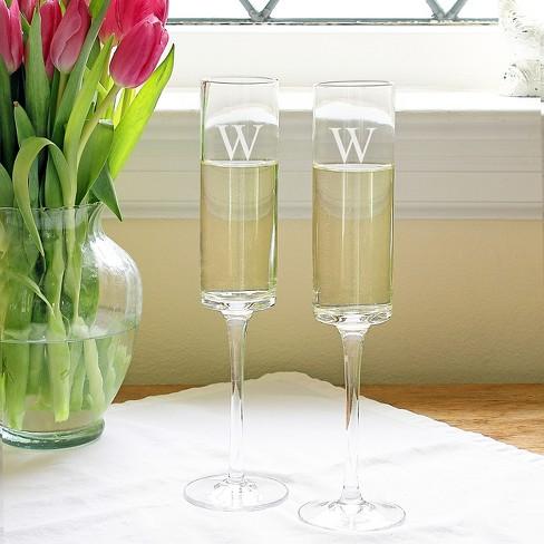 Monogram Contemporary Champagne Flutes 2ct Target
