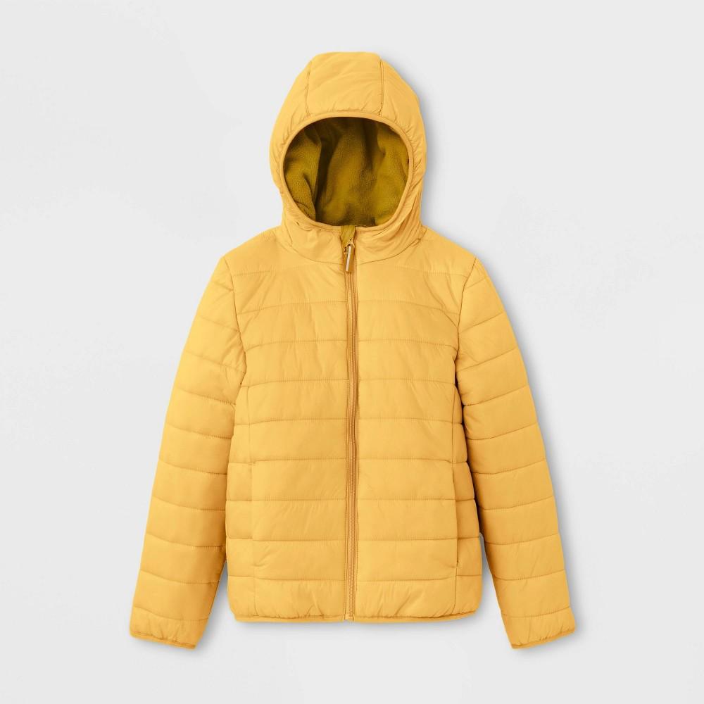 Kids' Lightweight Puffer Jacket - Cat & Jack Yellow XL, Kids Unisex