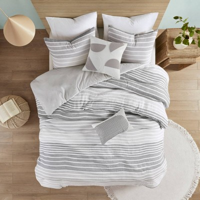 Evan Woven Stripe Cotton Gauze Duvet Set