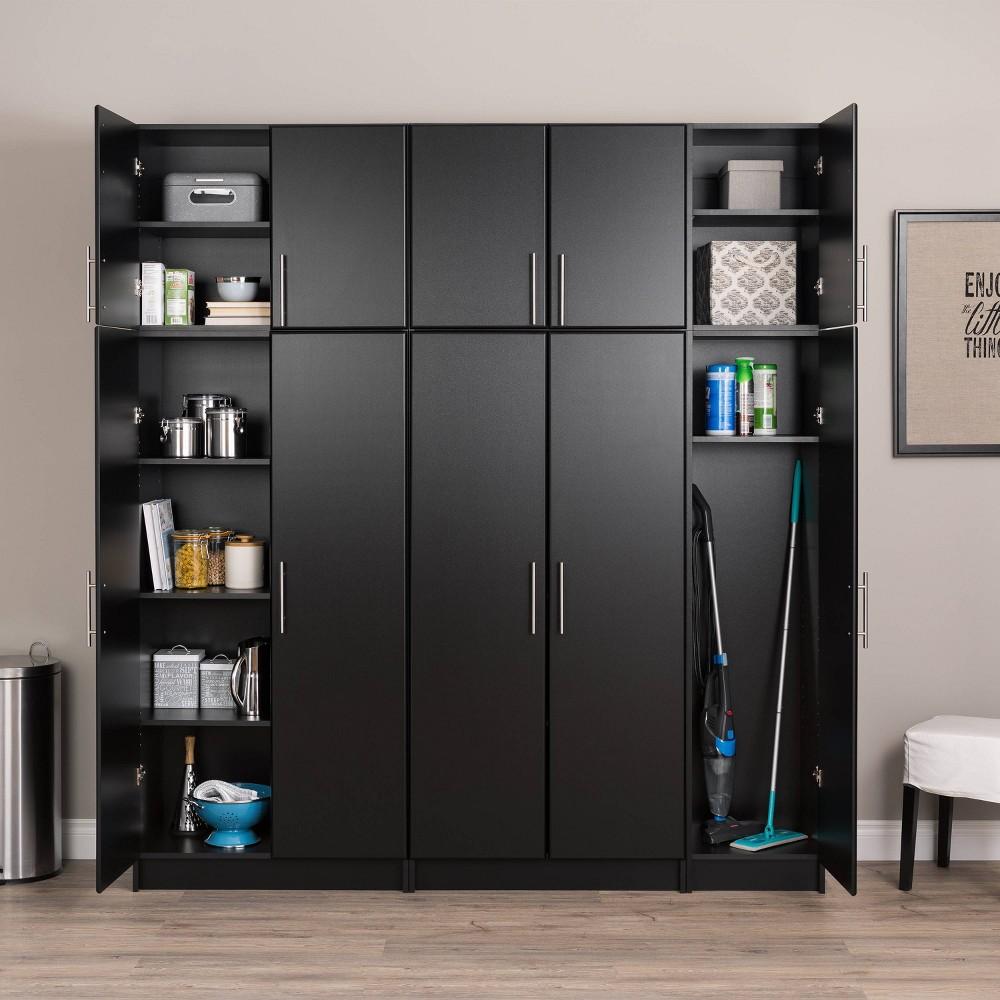 80 34 Elite With 6 Storage Cabinet Set Black Prepac