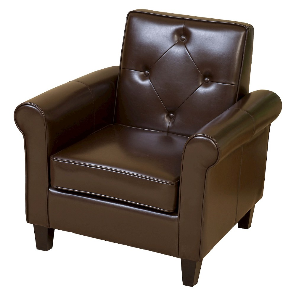 Isaac Tufted Brown Leather Club Chair -Chocolate Brown - Christopher Knight Home