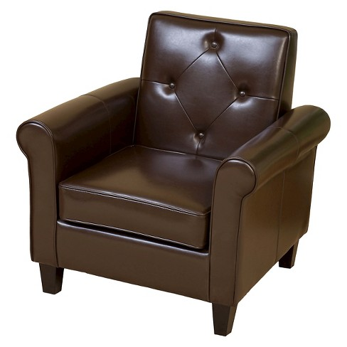 Isaac Tufted Brown Leather Club Chair -Chocolate Brown - Christopher Knight Home - image 1 of 4