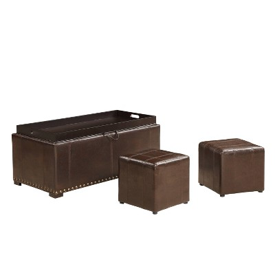 Leather Storage Bench with 2 Side Ottomans - AC Pacific
