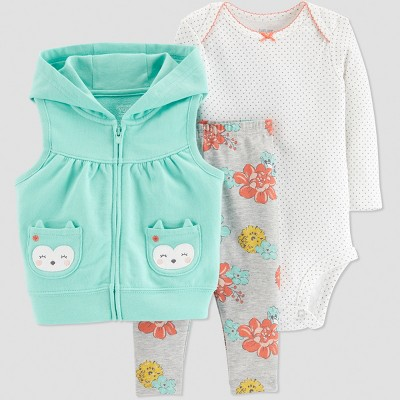 Baby Girls' Owl 3pc Set - Just One You® made by carter's Turquoise 3M