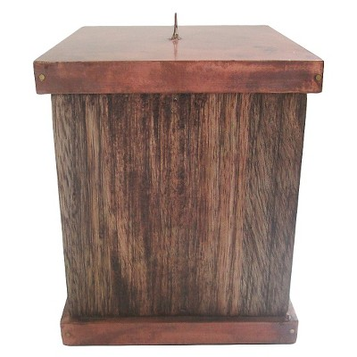 Wooden Texture Candle Holder with Copper Finish - Large - Threshold™