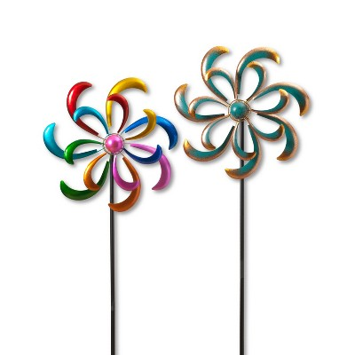 """GIL S/2 81.8""""H Multicolor Metal Wind spinner Stakes"""