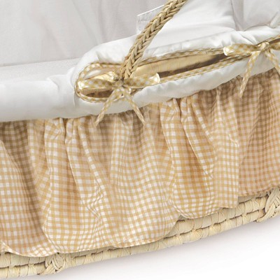 Badger Basket Natural Moses Basket With Fabric Canopy Bedding - Beige Gingham  Target : moses basket with canopy - afamca.org