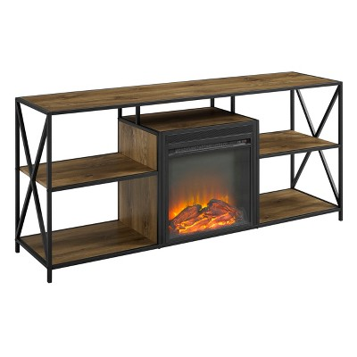 60  Rustic Electric Fireplace X Frame TV Stand Console Entertainment Center Barnwood - Saracina Home