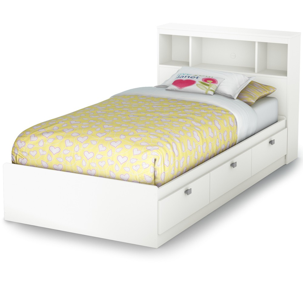 Spark Storage Bed And Bookcase Headboard Twin Pure White - South Shore