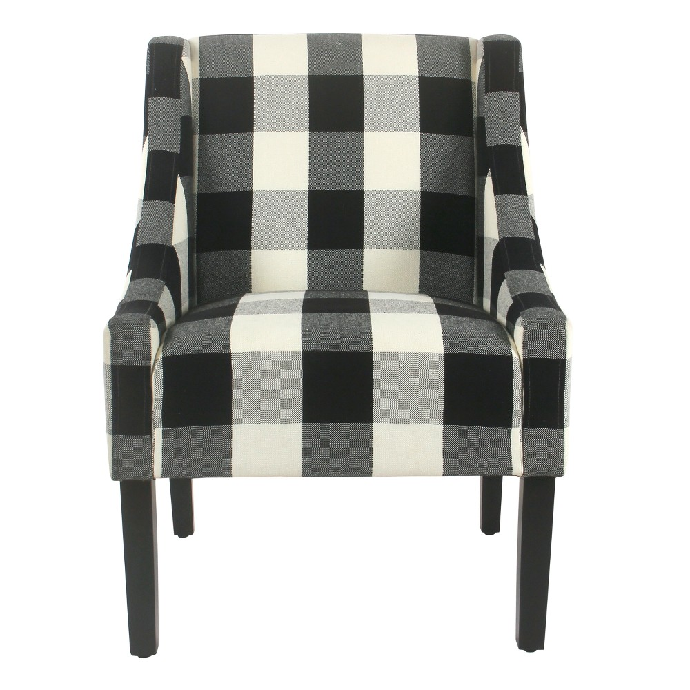 Modern Swoop Accent Chair Black Plaid - HomePop was $249.99 now $187.49 (25.0% off)