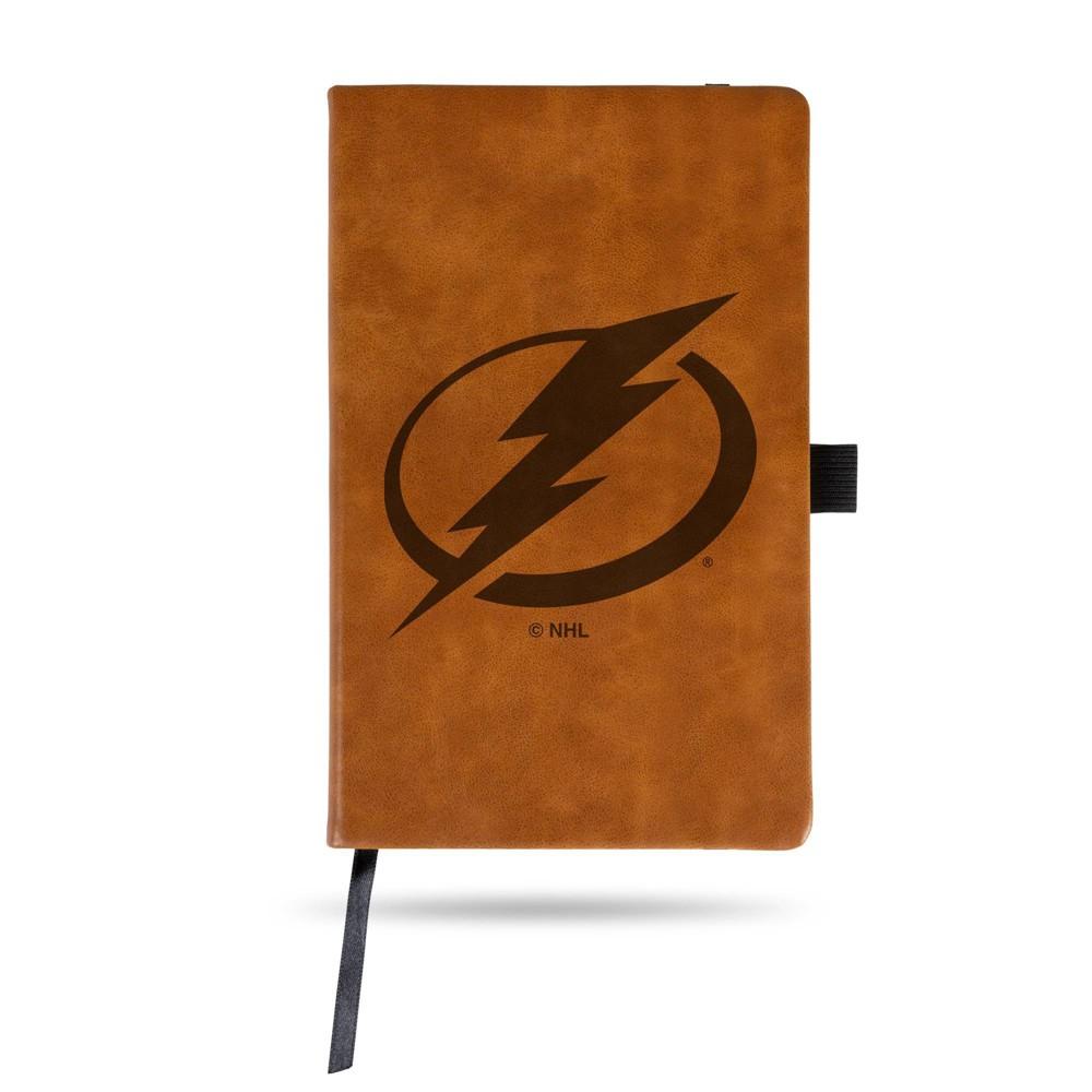 Nhl Tampa Bay Lightning Laser Engraved Brown Leather Padfolio