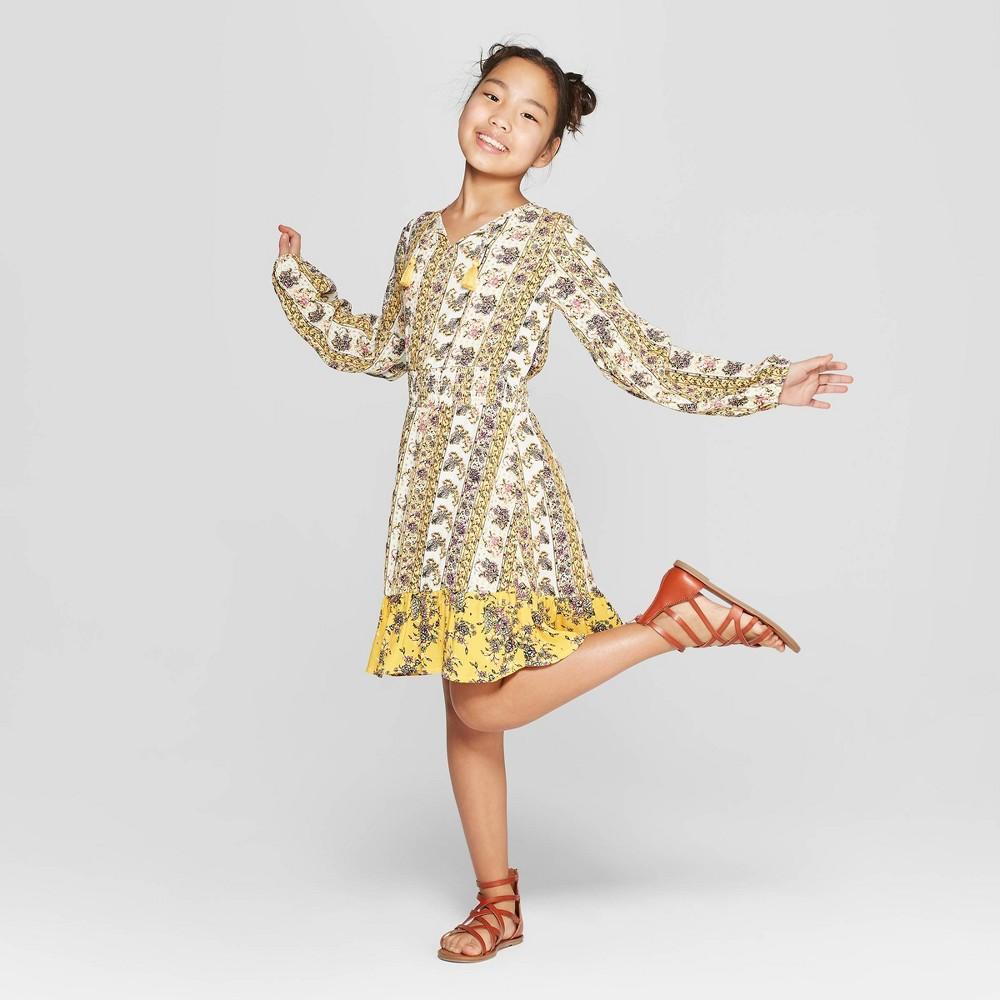 Girls' Floral Long Sleeve Smocked Waist Dress - art class Yellow XL