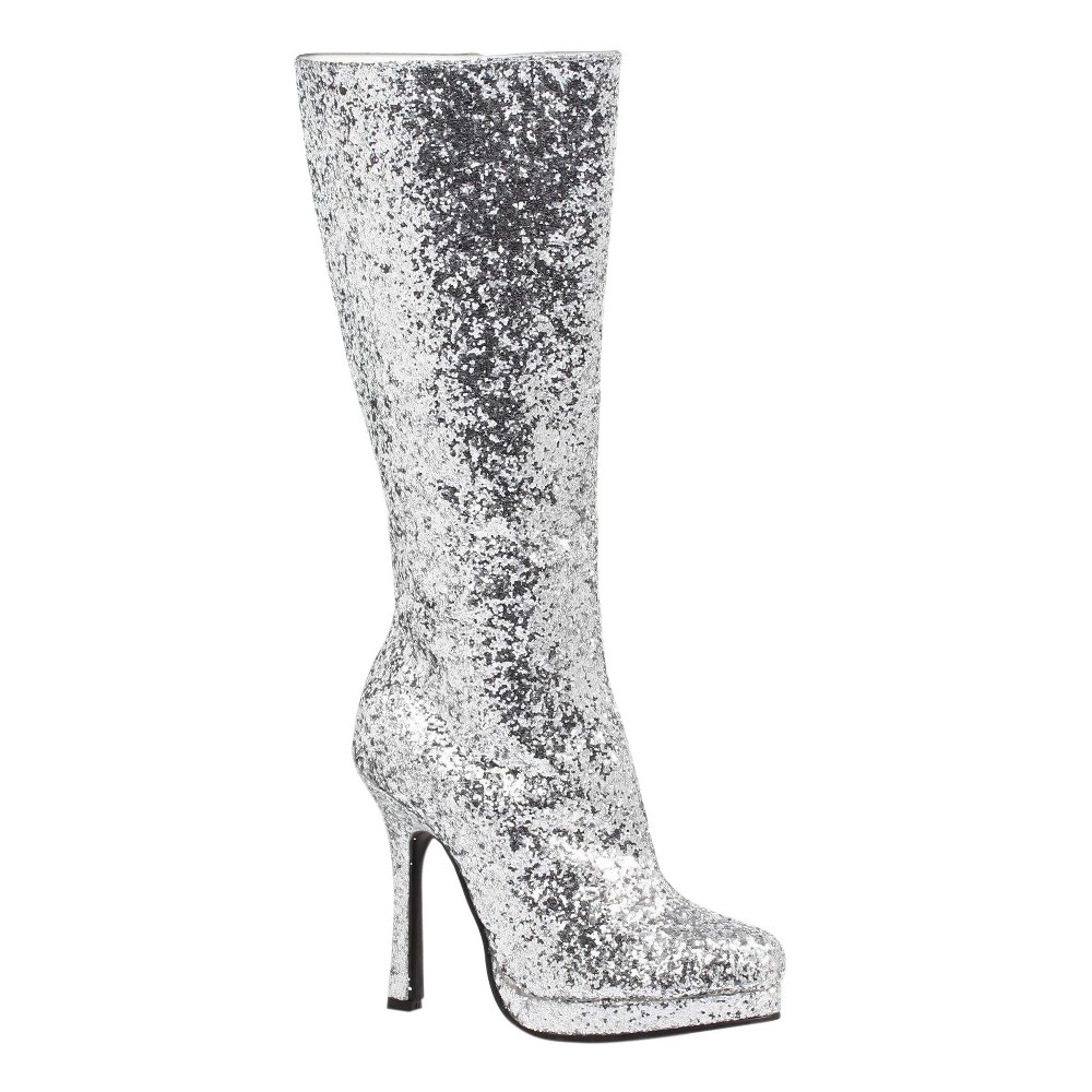 Image of Halloween Silver Glitter Costume Boots 6, Women's, Size: 10 SHOE