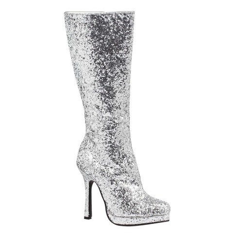 Women's Silver Glitter Costume Boots - image 1 of 1