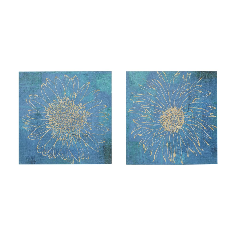 Iridescent Bloom Gel Coated Canvas 2pc Decorative Wall Art Set Blue