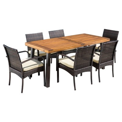 Bavaro 7pc Rectangle All Weather Wicker And Wood Patio Dining Set    Brown/Cream   Christopher Knight Home