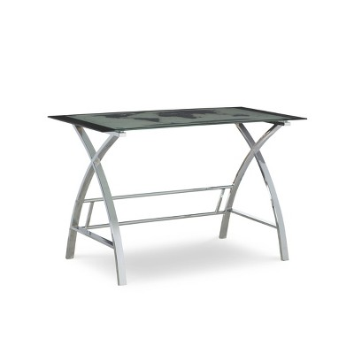 Christopher World Map Metal Computer Desk Silver - Powell Company